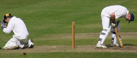 Wicket keeper, Andrell, celebrates Greenhough bowling Pollitt with a double-bouncer, OCCC 17.07.04