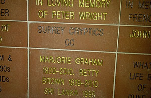 SCCC brick in Claygate's wall